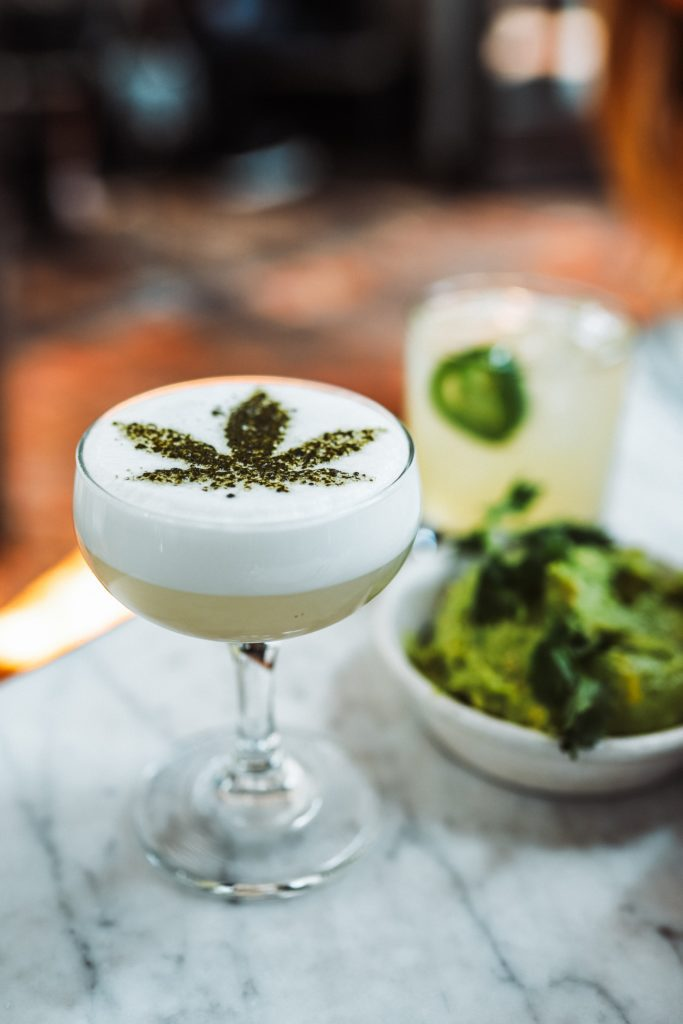 Cannabis Mocktail on marble counter